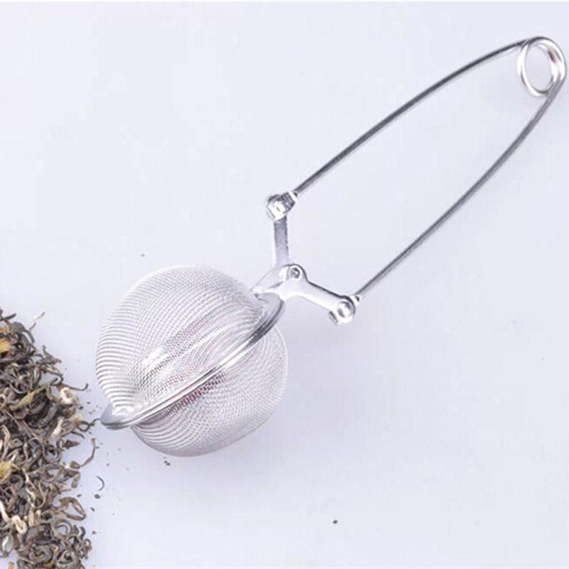 1pcs spherical mesh tea strainer stainless steel handle tea ball tea set kitchen gadget coffee pot vanilla spice filter