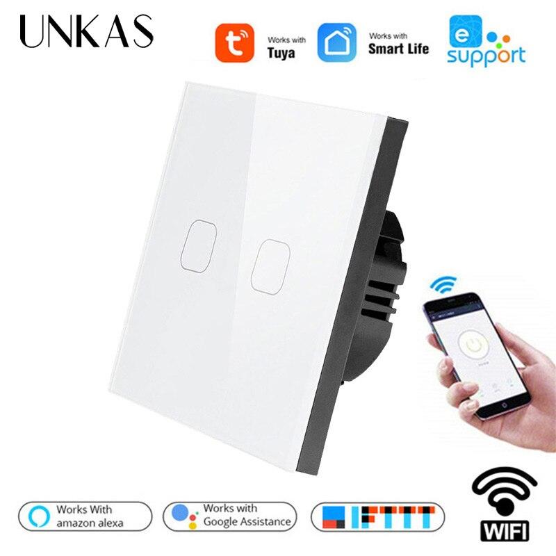 Unkas google casa amazon alexa controle de voz padrão da ue tuya/vida inteligente/ewelink 2 gang 1 maneira wifi interruptor de toque luz parede