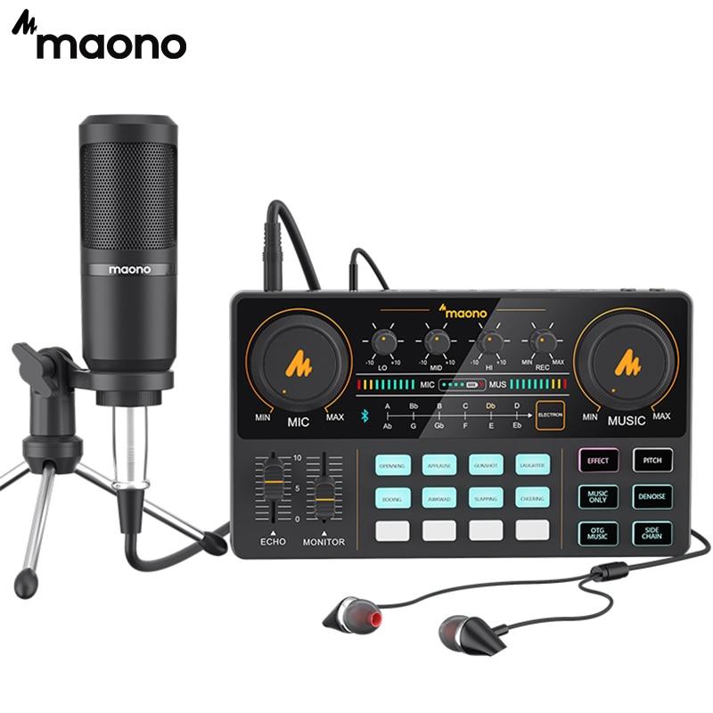 MAONO-micrófono de condensador AU-PM360TR, dispositivo con trípode de 3,5mm a XLR, Cardoid, para Tiktok, Podcast, Vlog, PC, grabación de Audio de teléfono