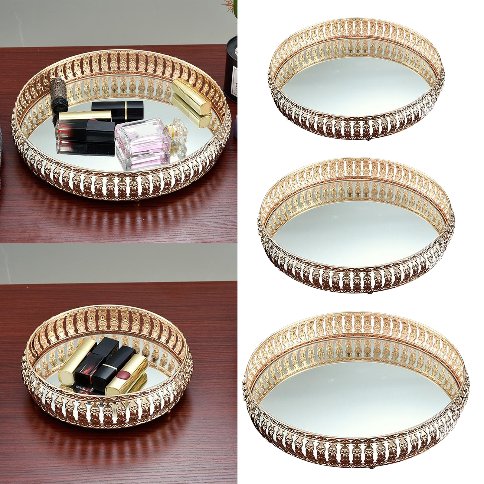 Luxury Mirror Glass Metal Storage Tray Gold Round Fruit Plate Desktop Small Items Jewelry Display Tray Plate
