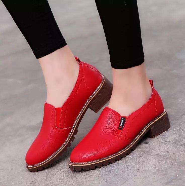 Zapatos planos de punta redonda párr mujer de calzado Oxford con cordones...
