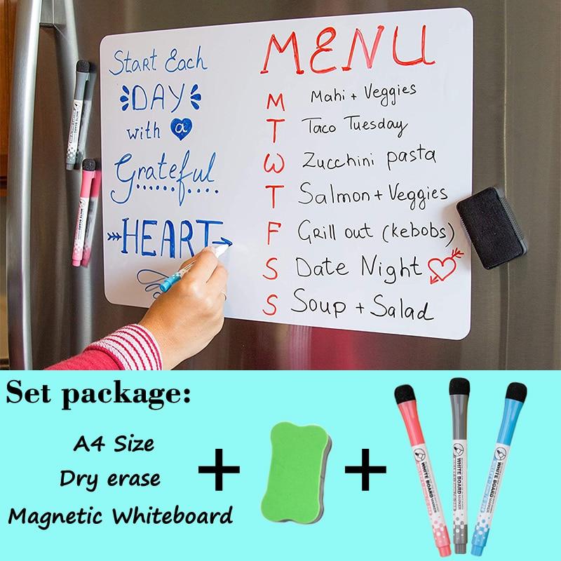 Доска магнитная для дома и школы, стираемый сухой стираемый календарь для рисования, белая доска, стикеры на холодильник, Размер A4