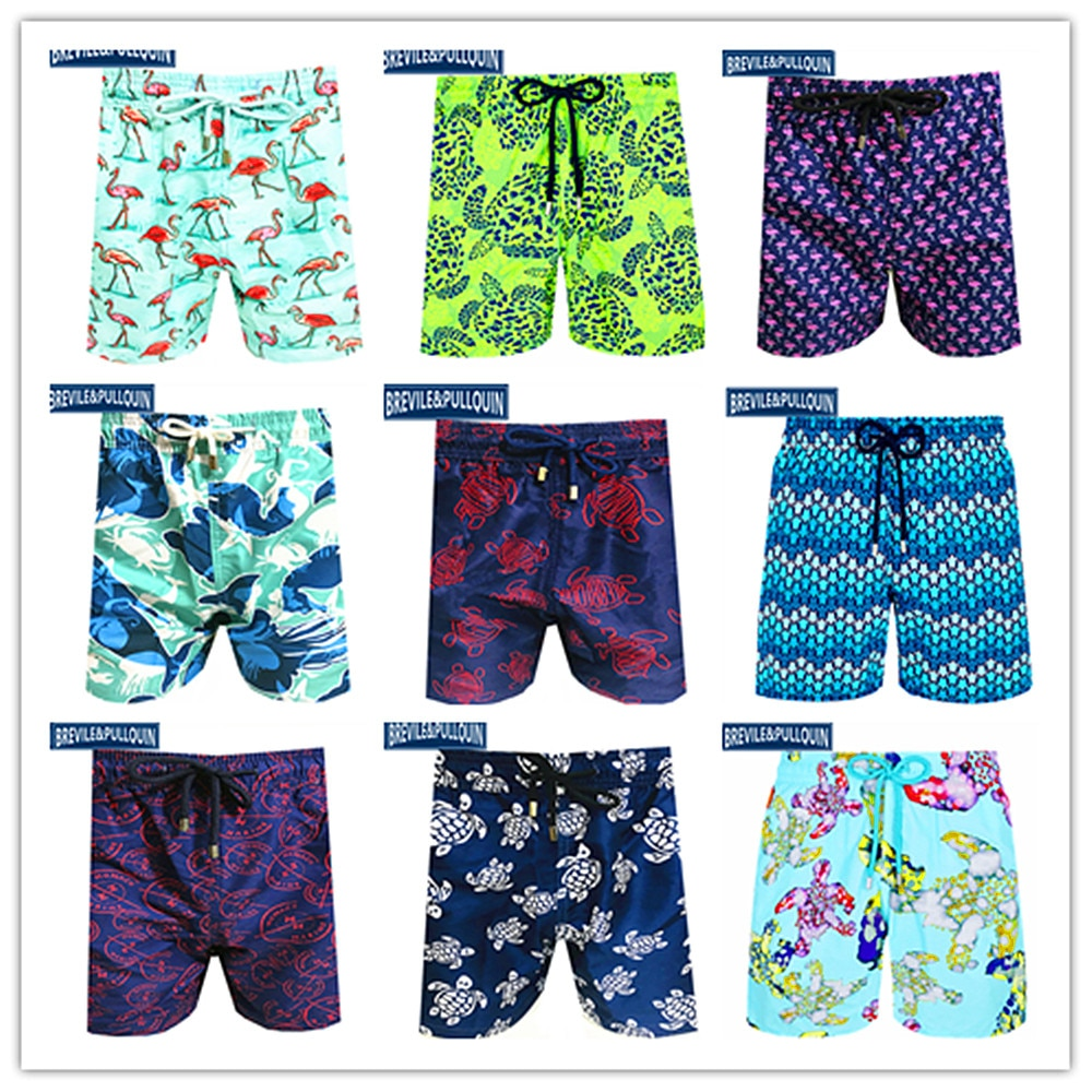 2020 marca clásica moda Brevile pullquin Beach Board Shorts hombres tortuga Swimtrunks hombres pantalones cortos hawaianos 100% M-XXXL de secado rápido