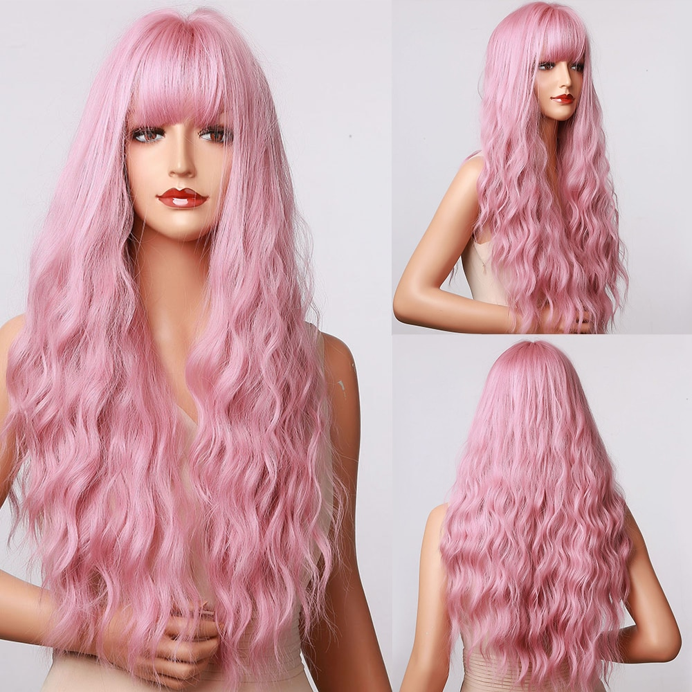 HENRY MARGU Long Wavy Pink Ombre Synthetic Wigs With Bangs Natural Hair Wigs for Women Party Cosplay Wigs High Temperature Fiber