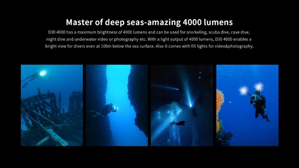 Original XTAR D30 4000 Diving Flashlight CREE XHP35LED 4000lumen UV/RED/BLUE light underwater 100 Metersdiving torch enlarge