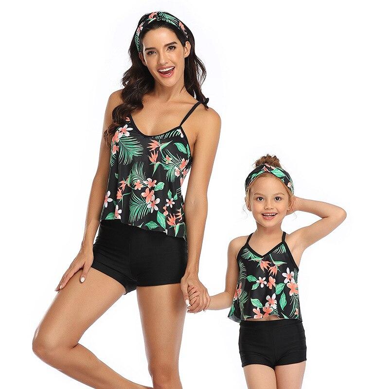 Bañador a juego para padres e hijos, bañador para madre e hija, Bikini estampado, conjunto de ropa interior de dos piezas, ropa de playa Lenceria