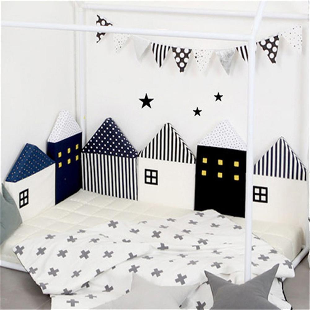 Kidlove de bebé Linda cuna parachoques nórdico pequeña casa Cama cojín Protector infantil cuna alrededor de almohadas BabyRoom Decoración Para niña Niño