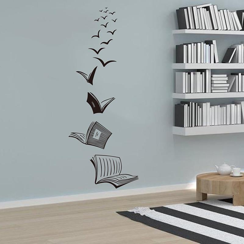 Open Book Fly Birds Wall Sticker Library Classroom Reading Book Study Animal Wall Decal School Bedroom Vinyl Home Decor
