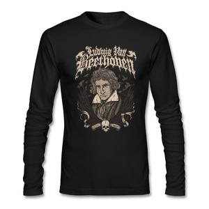 Men Designs T Shirts Beethovencrew Neck Famous Musician Men Costumes Full Sleeve Man T-shirts with Death Metal 100% Cotton