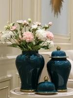 modern gold luxury ceramic large storage jar with lid ceramic ginger jar living room home decor accessori ornaments flower vase