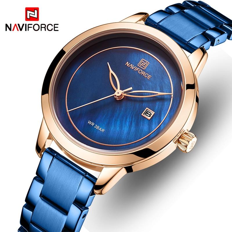 NAVIFORCE-ساعة يد نسائية من الفولاذ المقاوم للصدأ ، مقاومة للماء ، بسيطة ، زرقاء