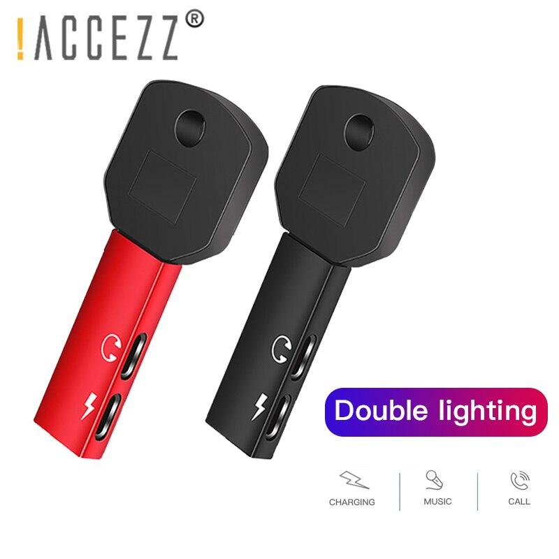 ¡! ACCEZZ para Apple adaptador de iPhone de Apple para iPhone 7 8 Plus XR XS Dual iluminación del divisor del conector de carga conector de adaptador de teléfono móvil