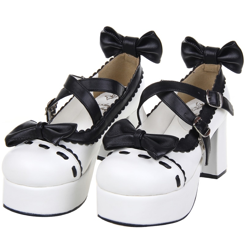 حذاء لوليتا ياباني للنساء ، حذاء أميرة بكعب عالٍ ، عصري ، رأس دائري ، دلو متقاطع