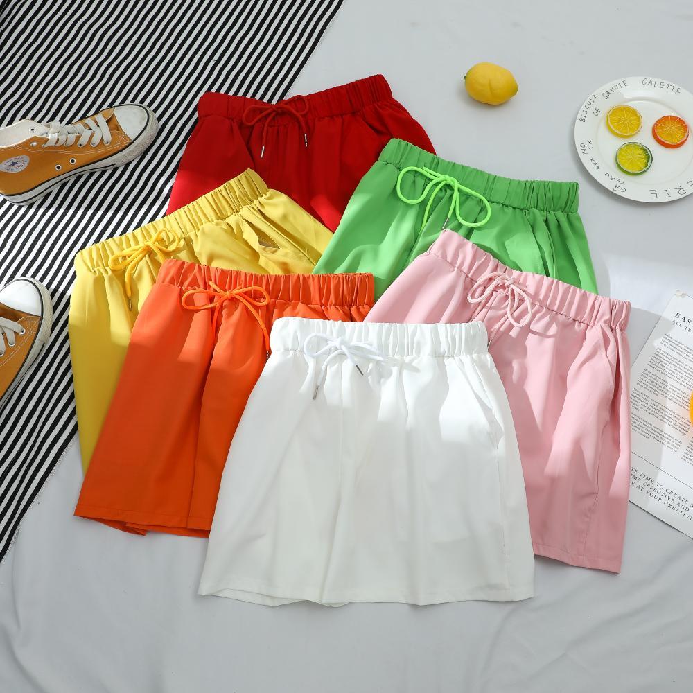 Летние спортивные шорты для женщин повседневные однотонные базовые шорты со шнурком с ослабленной завышенной талией, трусики-шорты для дев... базовые шорты для мальчиков