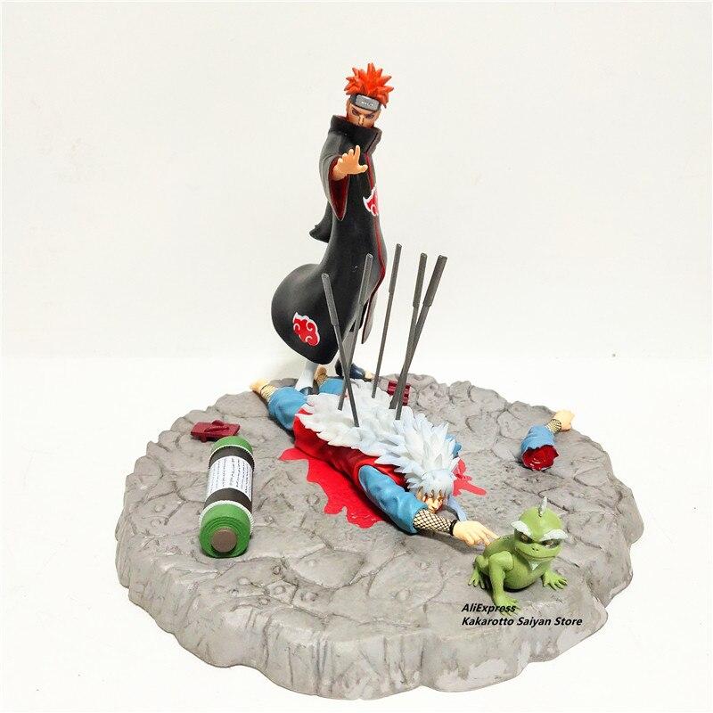 Naruto Jiraiya Pain Statue PVC Action Figure Anime Naruto Shippuden Pain Kill Jiraiya Dead Diorama Collectible Figurine Toys