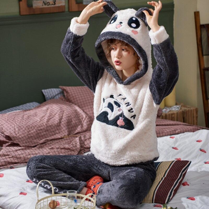 Las parejas adultas Pijama de las mujeres Panda de dibujos animados juguete de peluche Pijamas traje de terciopelo par de Pijamas conjuntos ropa de dormir Pijama para estar en casa