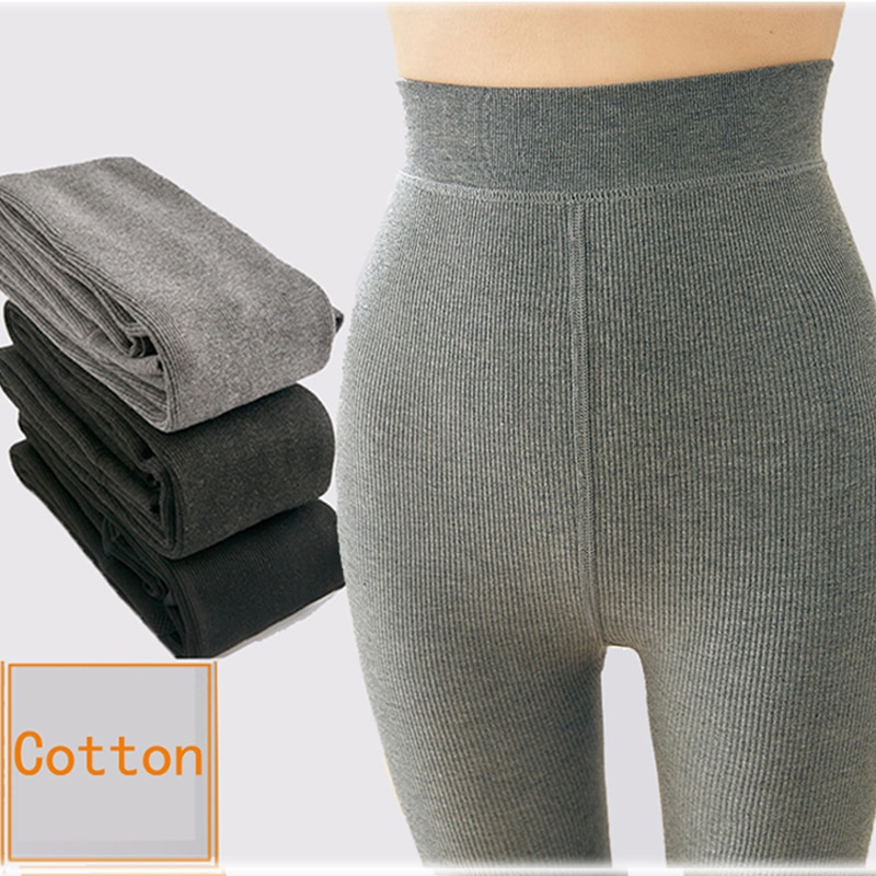 Winter Warm Pantyhose Tights High Elastic Waist Cotton Thick Stockings Tights Female Light Grey Dark Grey  Striped Pantyhose