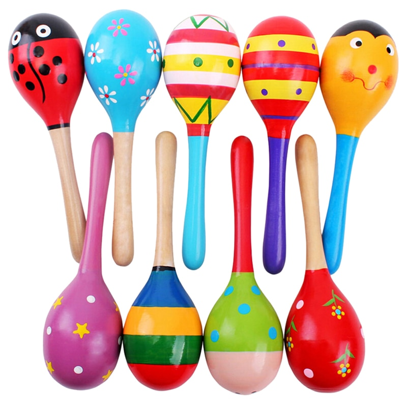 Colored Wooden Sand Hammer Toys Musical Instrument Toy Sand Toys Rattle Educational Hammer Ball Sand