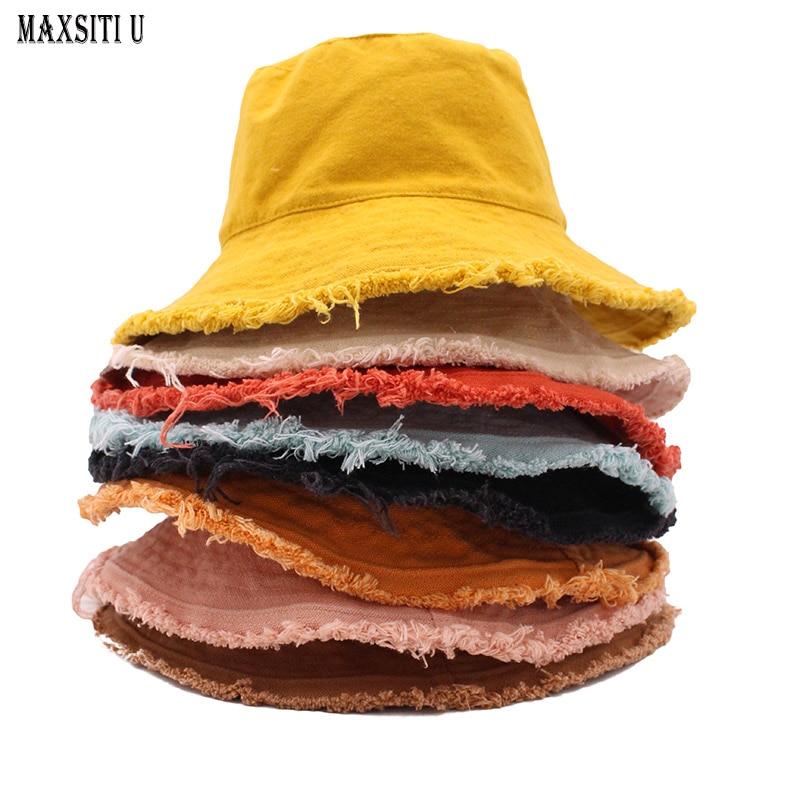 MAXSITIU قطن مهدب صياد غطاء سلك ألومنيوم ناعم شكل ماء غسل قبعة بحافة نساء أربعة مواسم سادة نزهة حوض قبعة