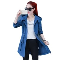 trench coat girl 2021 spring autumn new korean fashion casual letter plus size adjustable waist hooded windbreaker