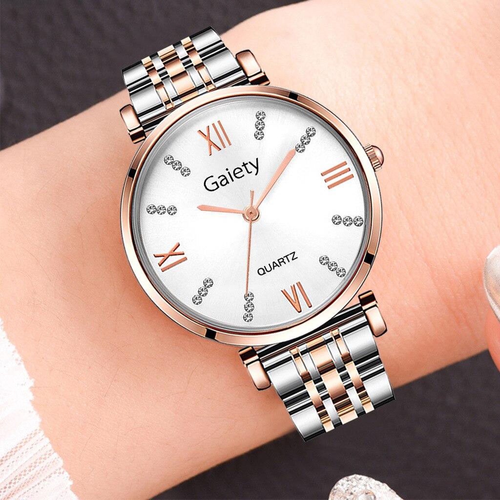 Relojes de aleación de cuarzo marca Gaiety para mujer, relojes de pulsera de lujo con diamantes de imitación, reloj de vestir para mujer, reloj de moda, reloj de mujer