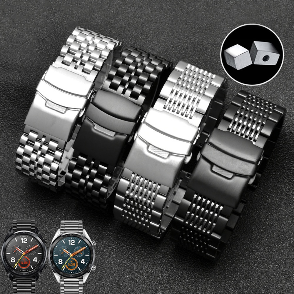 20mm 22mm Stainless Steel Strap for Samsung Galaxy Watch Gear S2 S3 Active 2 Huawei Watch 2 pro GT 2 Solid Metal Bracelet Band