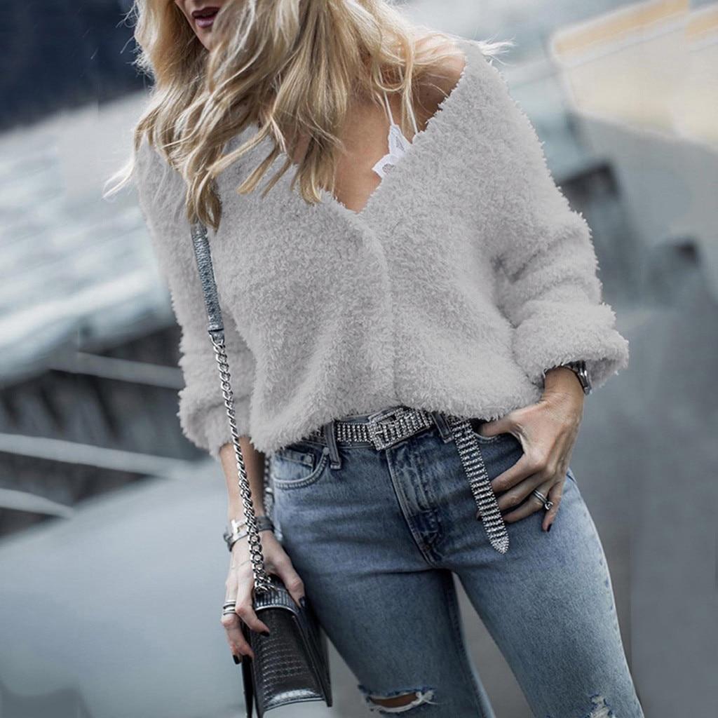Suéter de punto suelto de manga larga para mujer, suéter de punto de mujer, cuello en V, Jersey mullido, con botones elegantes, Tops de otoño e invierno