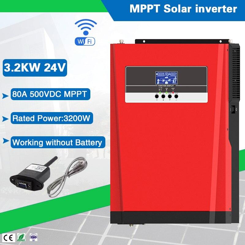 نظام الطاقة الشمسية المنزلية 3200VA/3200W 24VDC ، موجة جيبية نقية ، عاكس هجين 220/230VAC ، مع وحدة تحكم شاحن 80A MPPT
