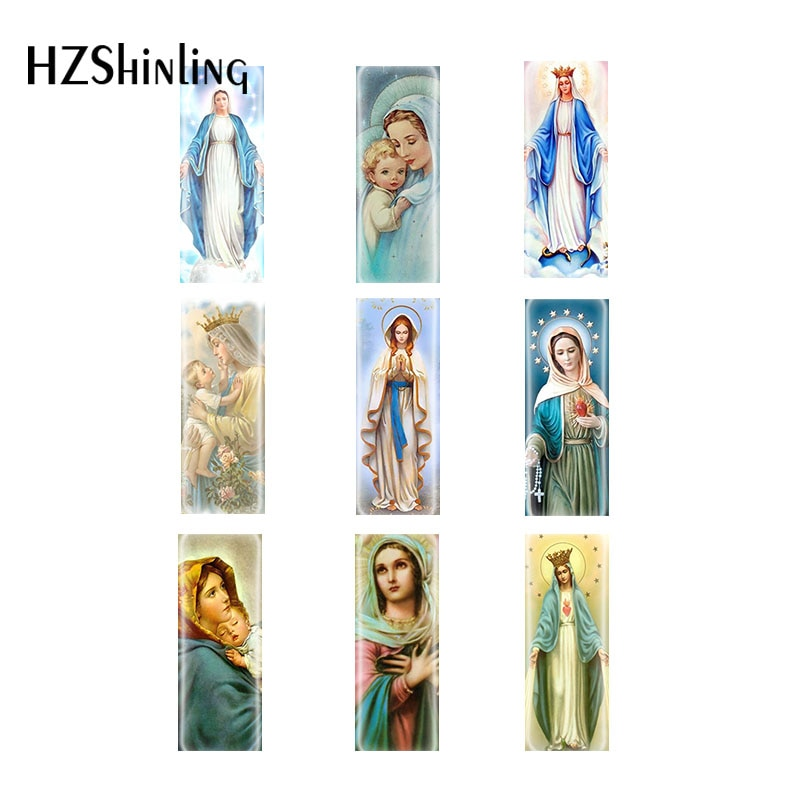 2020 novo 10*25mm 10 pçs maria virgem abençoada mãe bebê retângulo de vidro cabochão jóias acessórios