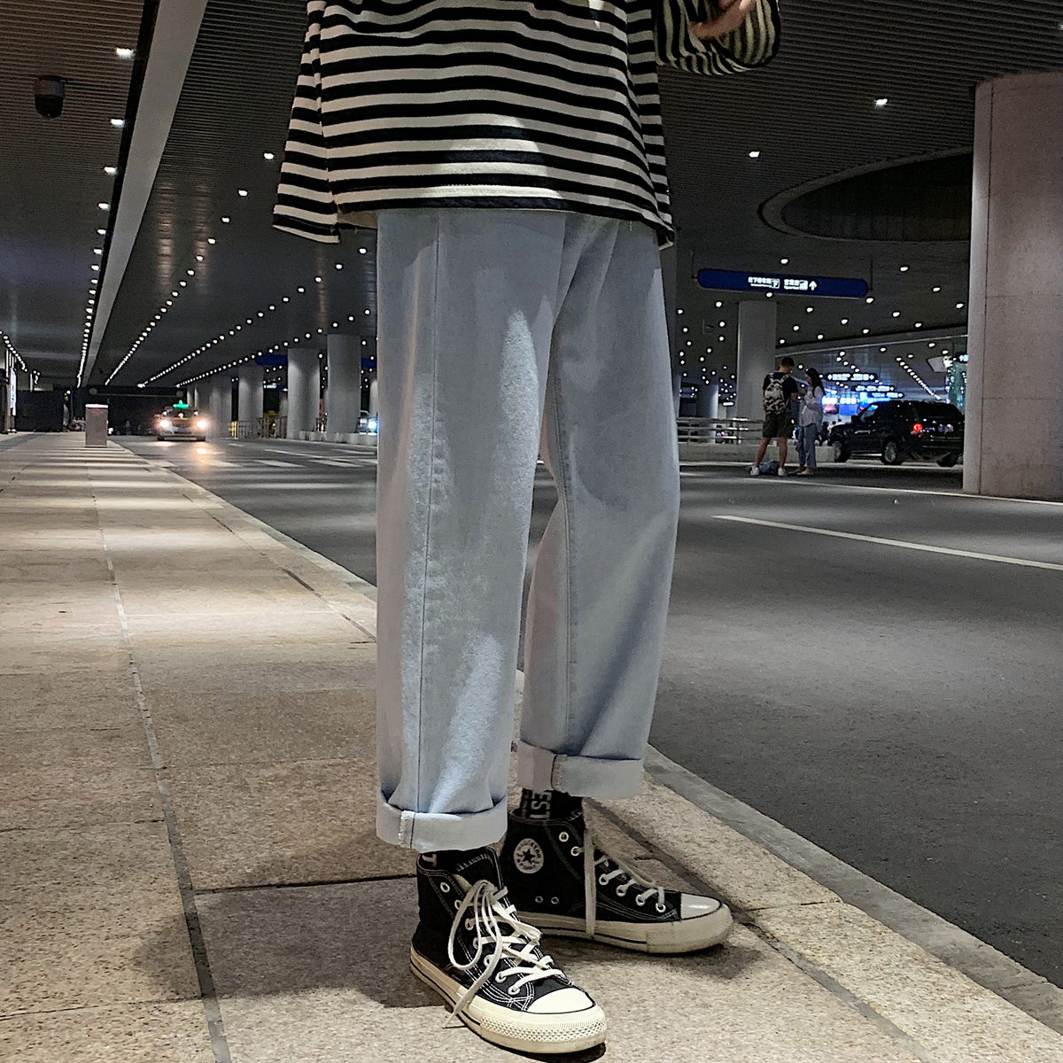 2021 New men's pure retro straight tube  Korean trendy jeans mens loose trousers big size straight full length casual
