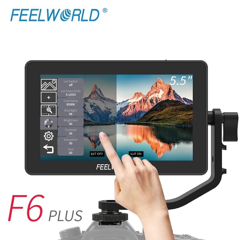 Монитор для камеры FEELWORLD F6 PLUS, 5,5-дюймовый IPS FHD монитор для цифровой зеркальной камеры, 5,5x1920 видео 4K, для камер Canon, Nikon