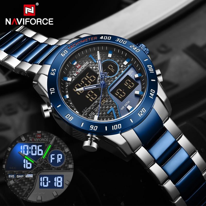 Reloj de pulsera NAVIFORCE de lujo para hombre, reloj de pulsera deportivo Digital militar, reloj de pulsera de acero resistente al agua para hombre, reloj Masculino 2020