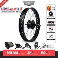 electric fat tire bike kit 36v 500w ebike rear wheel hub motor 20 26 4 0 dropout 190mm for snow electric bike conversion kit