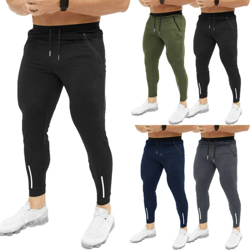 New Autumn Men Slim Fit Trousers Tracksuit Bottoms Striped Skinny Joggers Long Sweat Pants