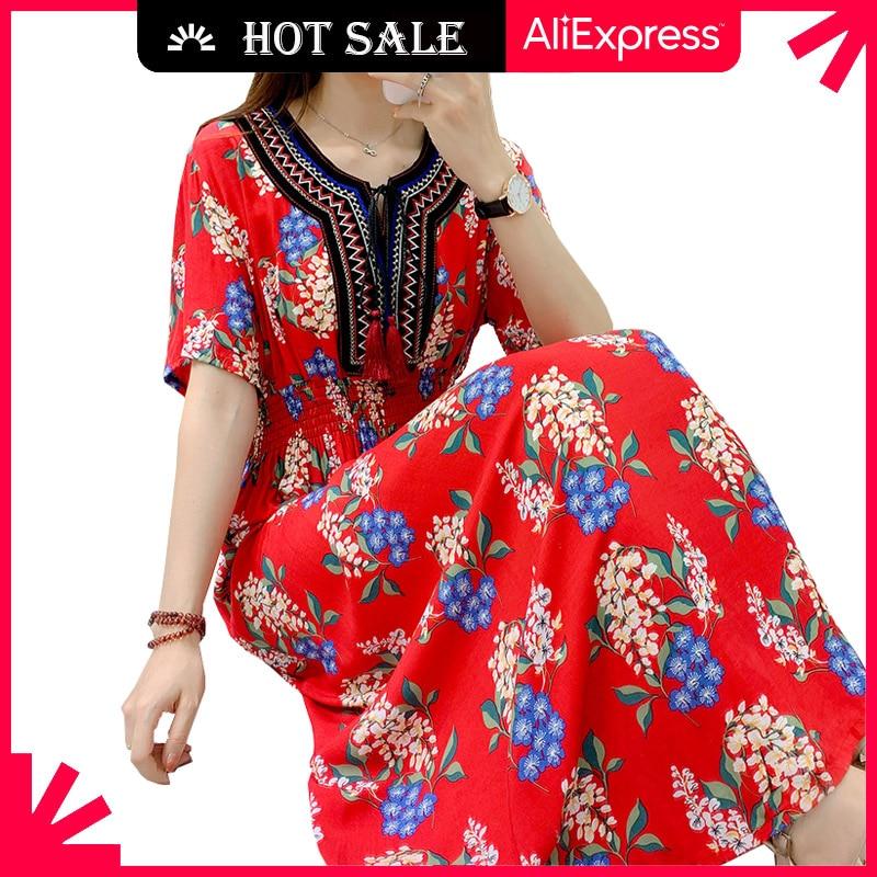 MOVOKAKA Fashion Floral Plus Size Dress Women 2021 Tassel Prom Casual Vintage Long Dresses Summer Be