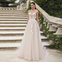 thinyfull boho sweetheart champagne wedding dresses lace appliques a line beach lace up back bridal gowns robe de mariage