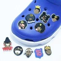 1pcs black girl shoe charms accessories pvc melanin rights shoe decoration for croc jibz kids x mas gifts