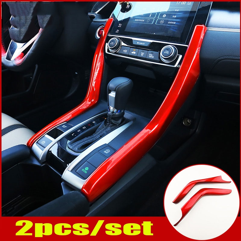 Fit For HONDA Civic 10th 2016 2017 2018 2019 2020 2021 ABS Red Gear Shift Sides Trim Strip 2pcs