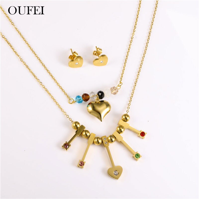 OUFEI conjunto de joyería de corazón de acero inoxidable, collar, pendientes, conjunto de abalorios, joyería de moda, accesorios de mujer, envío gratis