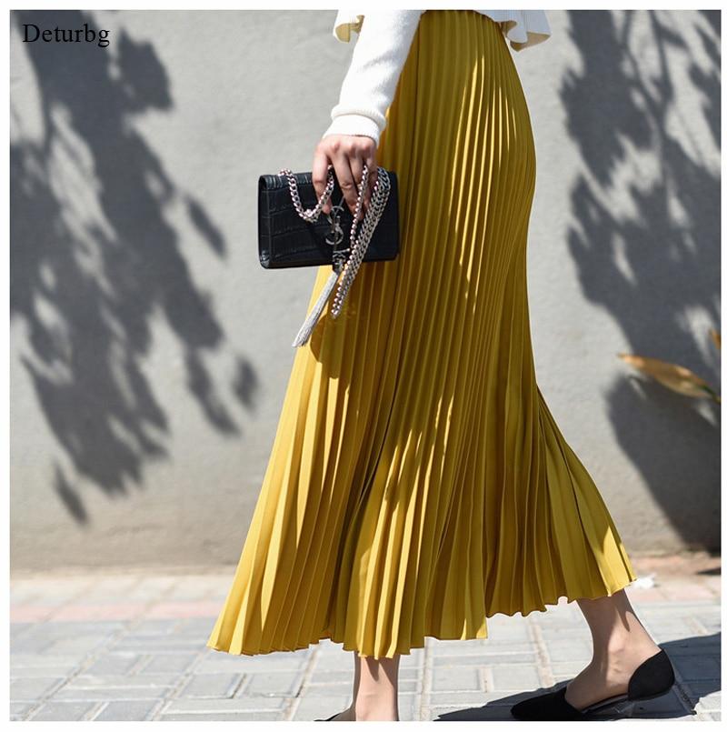 elegant high waisted solid color midi skirt for women chiffon skirt high waist pleated skirt Casual korean pleated skir Midi skirt Solid color chiffon long skirts for women