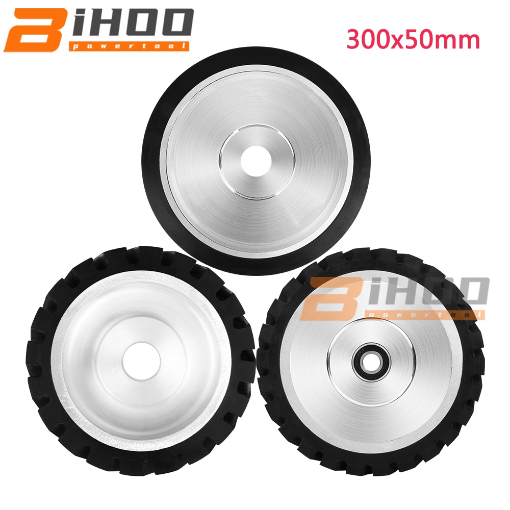 300mm Grooves Rubber Contact Wheel Dynamically Balanced Belt Grinder Grinding Belt Set for Metal Grinding 1PC