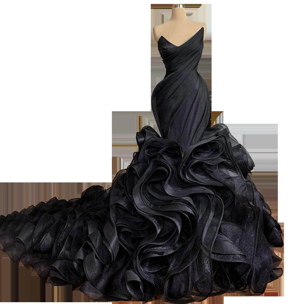 Rich Ruffles Skirt Organza  vestidos formales Mermaid فساتين السهرة  Black Celebrity Dresses вечерние платья  FOE31212