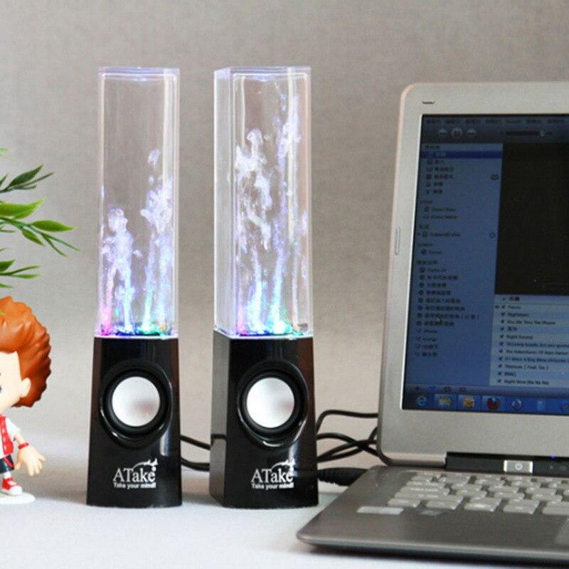 ¡Producto en oferta! 2 uds. Altavoces de luz LED para bailar agua música fuente para PC portátil teléfono portátil escritorio estéreo altavoz de baile de agua