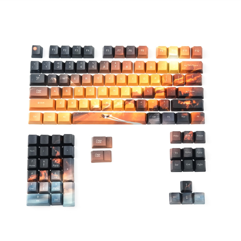 Saturn-لوحة مفاتيح ميكانيكية ، PBT ، 5 مفاتيح ، تسامي الصبغة الجانبية لمفتاح MX ، ملف تعريف OEM ، starry sky keycaps ، 110 مفتاح/مجموعة