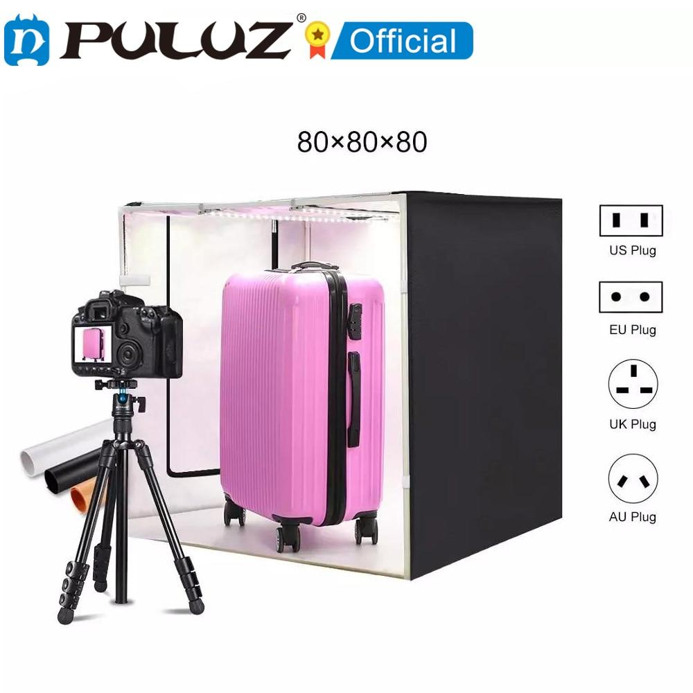 PULUZ-80 سنتيمتر صندوق إضاءة استوديو الصور ، سوفت بوكس للتصوير الفوتوغرافي ، خيمة التصوير ، 3 ألوان خلفية ، مجموعات الإضاءة ، CE