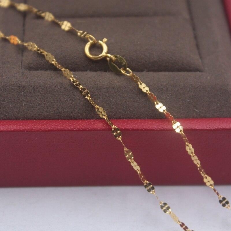 Cadena de oro amarillo puro 18k Unisex suerte 1.8mmW trébol enlace cadena collar 18 pulgadas 1,15g