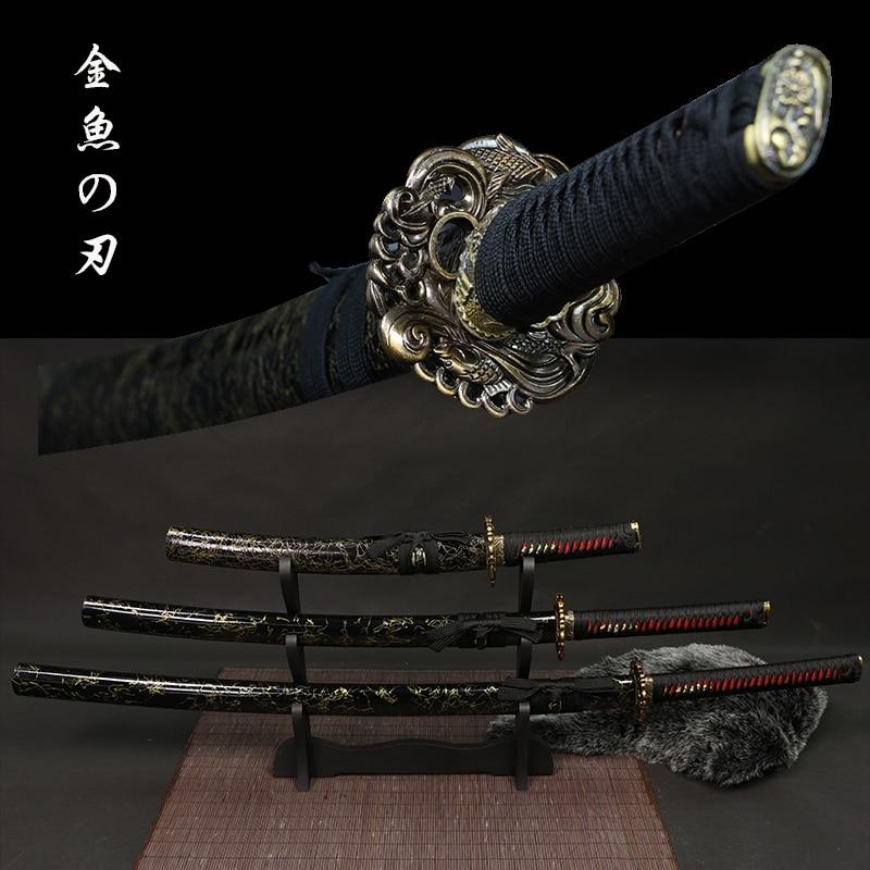 تانتو/واكيزاشي/كاتانا-سيوف ساموراي يابانية مصنوعة يدويًا بشفرة ، سكين عتيق تانغ كامل ، مجموعة جديدة
