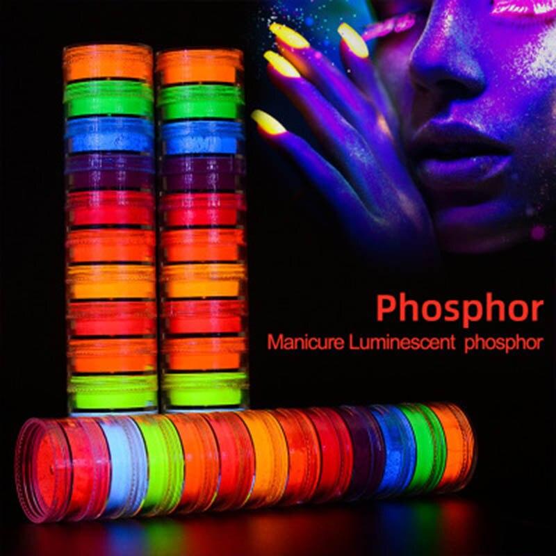 Polvo fluorescente para decoración de uñas, juego de 12 colores, polvo de neón para decoración de uñas de colores DIY, polvo de uñas con purpurina WH998