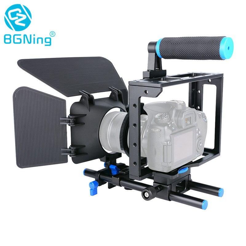 Bgning gaiola da câmera universal para canon/sony/nikon/panasonic dslr suporte montagem rig ferroviário haste siga o sistema de foco fotografia parte