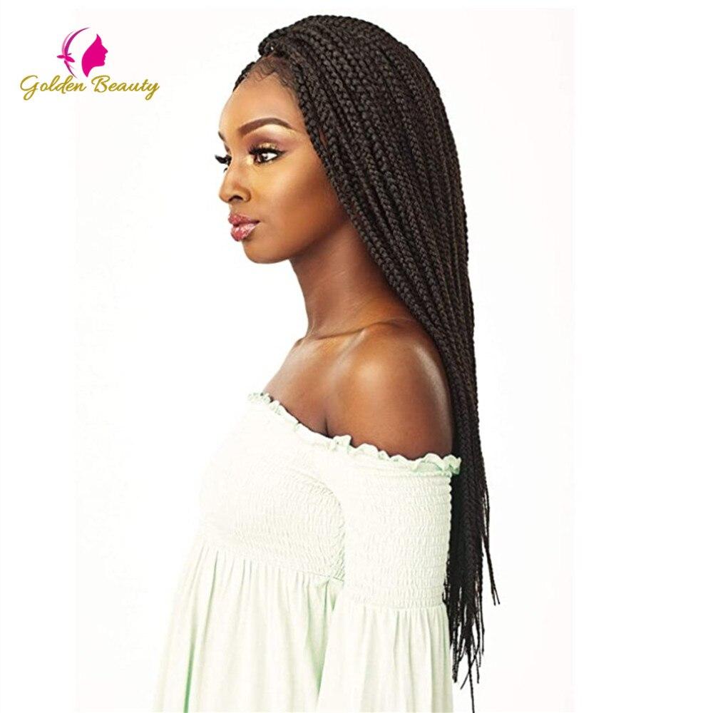 Golden Beauty peluca Africana trenzada de 22 pulgadas de largo caja de peluca con trenzas Peluca de pelo trenzado sintético negro Natural para mujeres negras